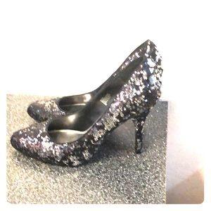 Black Sequins heel shoes.